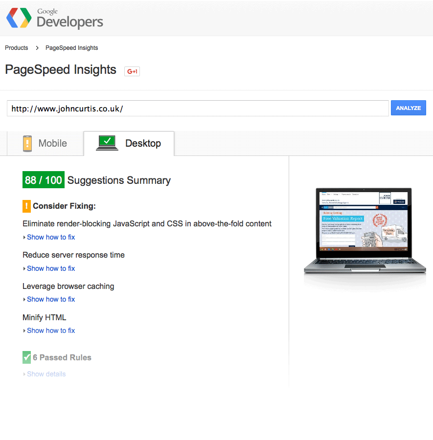 Put your website to the test with Google's PageSpeed Test