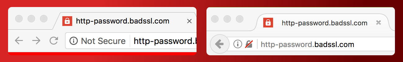 Google Chrome and Firefox non-secure address bars