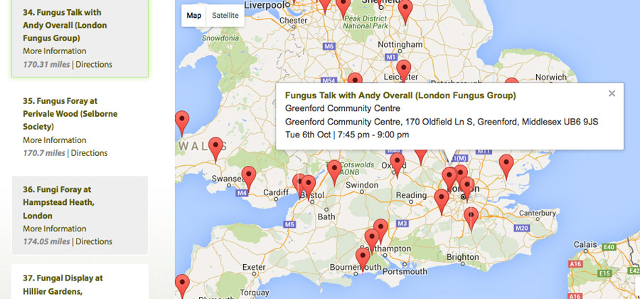 UK Fungus Day Website Map